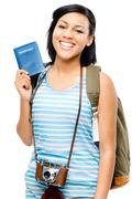 happy tourist holding passport camera photographer woman - stock photo