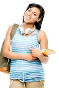 happy mixed race student back to school isolated on white background - stock photo