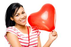 happy woman red heart shaped balloon romance - stock photo