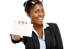 Attractive african american woman holding white placard isolated Stock Photos