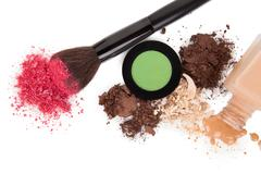 high angle view of cosmetic products - stock photo