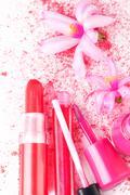 pink girly cosmetcis. - stock photo