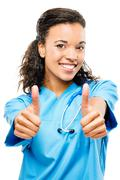 Happy black african american doctor smiling arms folded isolated on white bac Stock Photos