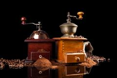 old vintage wooden coffee mill. - stock photo