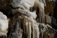 icy stalactites - stock photo