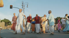 Hare Krishna in Rome 2 (slomo) Stock Footage