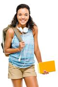 Happy hispanic woman student going back to school Stock Photos