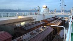 Trains, cargo vessel, Baku skyline, Caspian Sea Stock Footage