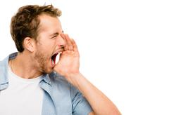 shouting man angry scream white background - stock photo
