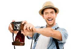 tourist retro camera travel photographer - stock photo