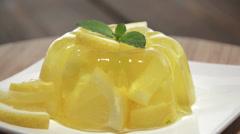 Rotating Lemon Jello Stock Footage