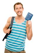 happy tourist man travel passport adventure - stock photo