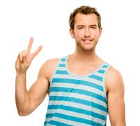 happy man peace sign isolated white background - stock photo