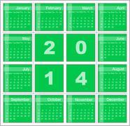 Annual calendar for 2014 Stock Illustration
