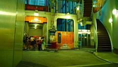 Elevator at Old Elbe Tunnel or St. Pauli Elbe Tunnel, time lapse Stock Footage