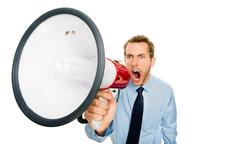 businessman shouting megaphone isolated on white background - stock photo