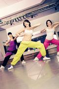 aerobics girls - stock photo