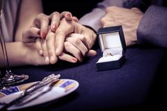 engagement ring - stock photo