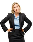 stupid mature business woman isolated on white background - stock photo
