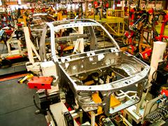 Body car in Assembly line - stock photo