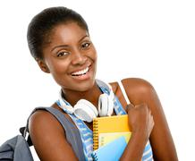 successful african american student woman going back to school isolated on wh - stock photo