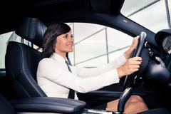 driving girl - stock photo
