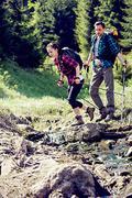 hiking couple - stock photo