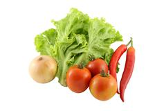 green and red vegetables group on white background. - stock photo