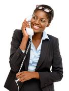 happy african american woman using analogue phone - stock photo