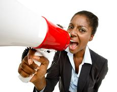 African american business woman holding megaphone isolated on white backgroun Stock Photos