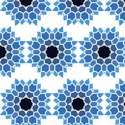 Vintage Seamless pattern blue mosaic petal flower - stock illustration