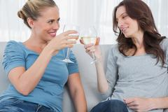 Happy women clinking their wine glasses while sitting on the sofa Stock Photos