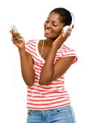 beautiful african american woman video messaging mobile phone isolated on whi - stock photo