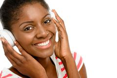 Beautiful african american woman listening to music mobile phone isolated on  Stock Photos