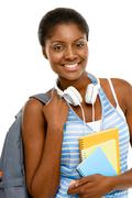 Successful african american student woman back to school isolated on white ba Stock Photos