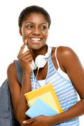 successful african american student woman back to school isolated on white ba - stock photo