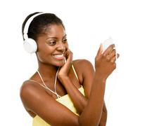 beautiful african american woman video messaging mobile phone - stock photo