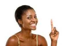beautiful african american woman happy isolated on white background - stock photo