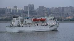 Passenger vessel sails into Baku harbor Stock Footage