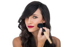 Glamorous brunette applying blusher - stock photo