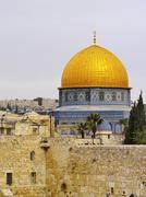 wailing wall and al aqsa mosque - stock photo