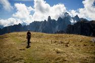 Stock Photo of hiking in dolomite