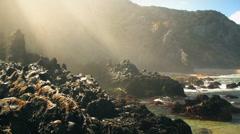 Beach, rocks and people - Praia Grande Beach - Sintra Portugal  Stock Footage