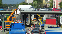 Traffic in Roadworks construction site in urban German city Stock Footage
