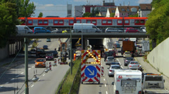 Roadworks Traffic Congestion in construction site in German city Stock Footage