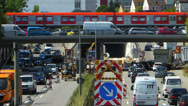 Stock Video Footage of Roadworks Traffic Congestion in construction site in German city