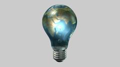 Light bulb world globe rotate Stock Footage