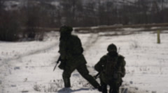Stock Video Footage of military, soldiers in the snow, winter warfare training