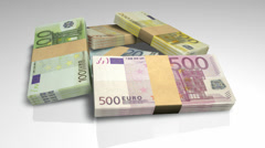 euro notes collection pile rotate - stock footage