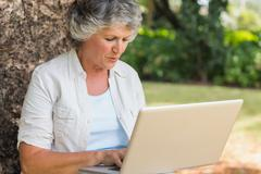 Grey haired woman with a laptop - stock photo